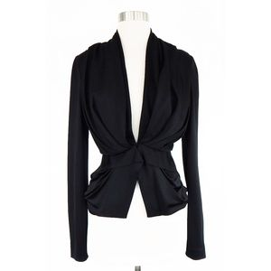 Balenciaga Black Draped Smooth Knit Jacket Size 36